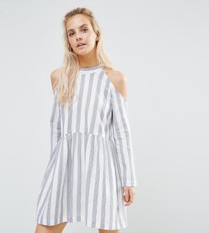 ASOS Petite Хлопковое платье в полоску с присборенной юбкой. Цвет: мульти