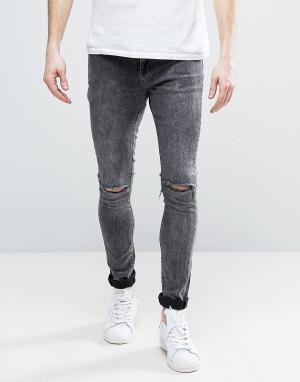 Brooklyn Supply Co. Рваные джинсы с эффектом кислотной стирки Co. Цвет: синий