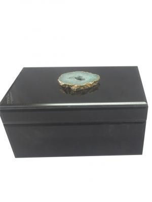 Шкатулка Жемчужный агат (19,5x11x10см, из стекла для мелочей) Magic Home. Цвет: черный