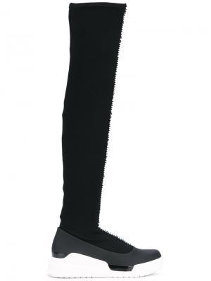 Кроссовки с высоким вязаным голенищем Donna Karan. Цвет: чёрный