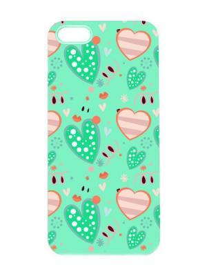 Чехол для iPhone 5/5s Зеленые сердца Арт. IP5-031 Chocopony. Цвет: зеленый, черный