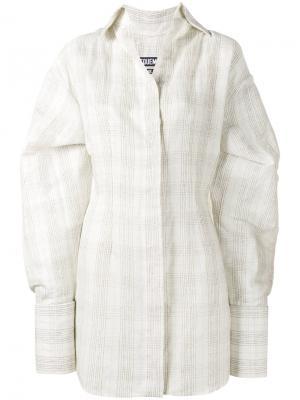 Рубашка в клетку с объемными манжетами Jacquemus. Цвет: телесный
