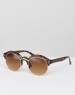 7X Солнцезащитные очки кошачий глаз. Цвет: коричневый