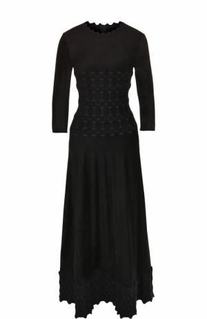 Приталенное платье-миди с укороченным рукавом Alaia. Цвет: темно-синий