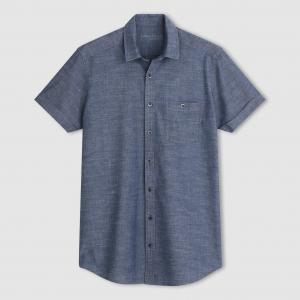 Рубашка с короткими рукавами из легкой джинсы, 100% хлопка TAILLISSIME. Цвет: синий потертый