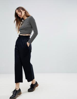 Monki Юбка-брюки с широкими штанинами. Цвет: черный