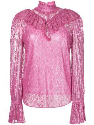Foiled lace ruffle high neck blouse G.V.G.V.. Цвет: розовый и фиолетовый