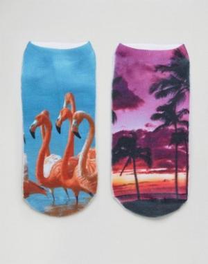 7X 2 пары носков Flamingo & Palm. Цвет: мульти