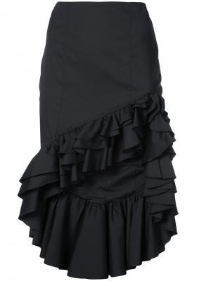 Асимметричная юбка с оборками Caroline Constas. Цвет: чёрный