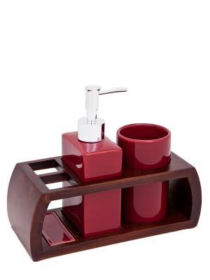Набор для ванн из 3 предметов (подставка, дозатор, стакан) Blonder Home. Цвет: бордовый