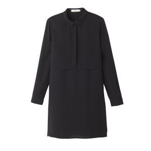 Блузка однотонная с воротником-поло и длинными рукавами SEE U SOON. Цвет: черный