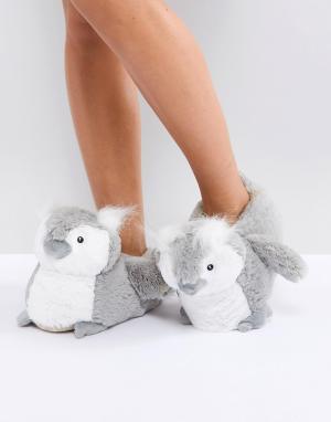 New Look Тапочки с совами. Цвет: серый