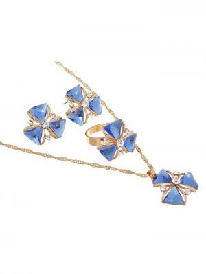 Набор: серьги, кулон, кольцо Queen Fair. Цвет: голубой, золотистый