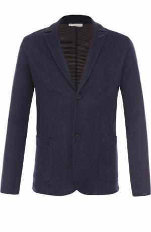 Однобортный пиджак из смеси хлопка и льна Daniele Fiesoli. Цвет: темно-синий