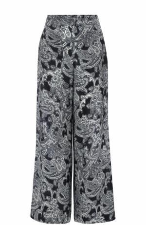 Укороченные широкие брюки с принтом Acne Studios. Цвет: синий