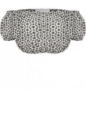 Хлопковый кроп-топ с открытыми плечами Lisa Marie Fernandez. Цвет: черно-белый
