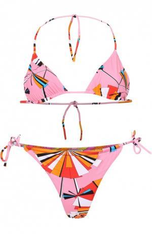 Раздельный купальник с ярким принтом Emilio Pucci. Цвет: розовый