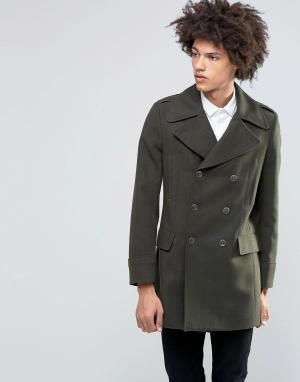 Gianni Feraud Пальто в стиле милитари с добавлением шерсти Premium. Цвет: зеленый