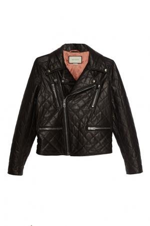 Стеганая куртка из кожи Gucci. Цвет: черный