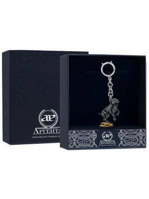 Брелок для ключей Питбуль частично позолоченный с чернью + футляр АргентА. Цвет: серебристый