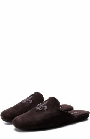 Домашние замшевые туфли с вышивкой Homers At Home. Цвет: коричневый