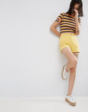 ASOS Желтые джинсовые шорты в винтажном стиле. Цвет: желтый
