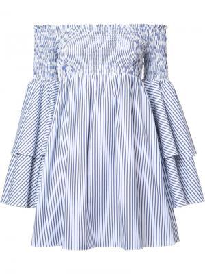 Полосатое платье с открытыми плечами Caroline Constas. Цвет: синий