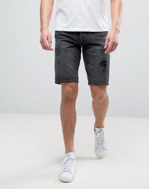 Jack & Jones Рваные джинсовые шорты классического кроя Intelligence. Цвет: черный