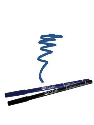 Набор деревянных косметических карандашей для глаз 2 штуки. Один черный плюс цвет 505 Синий Parisa. Цвет: синий