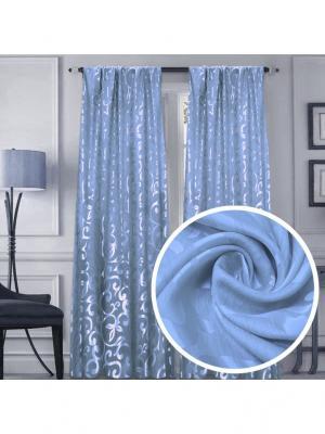 Портьера Amore Mio МТХ 837-11 FY 200*270 см голубой. Цвет: голубой, синий