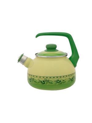 Чайник с бак. руч., со свистком 2,5 л METROT. Цвет: зеленый
