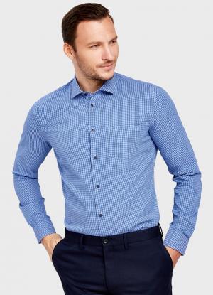 Рубашка со структурным жаккардом OSTIN. Цвет: ярко-синий