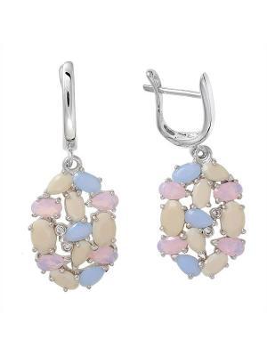 Серьги BALEX. Цвет: бежевый, розовый, голубой, серебристый