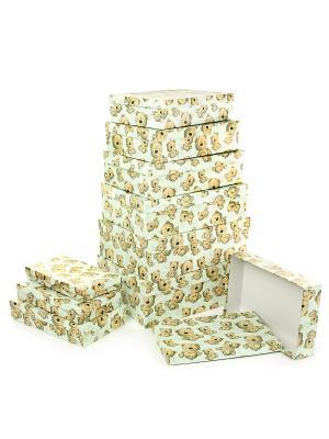 Набор из 10 картонных коробок 23*13*3-36,5*26,5*12см, Плюшевый улыбака VELD-CO. Цвет: салатовый, светло-коричневый