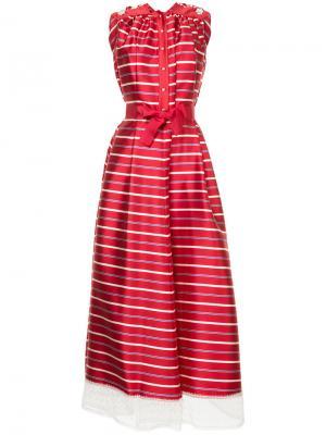 Полосатое платье с подолом из тюля Alexis Mabille. Цвет: красный