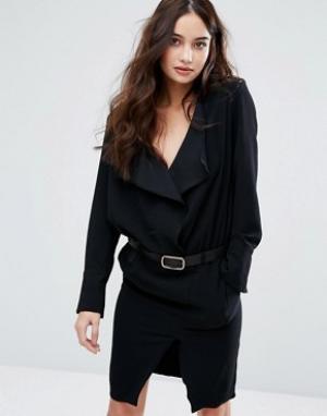 BA&SH Платье с длинными рукавами и поясом. Цвет: черный