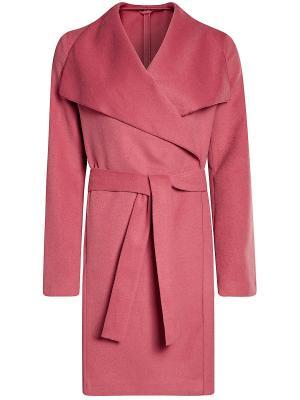Пальто Oodji. Цвет: розовый, белый