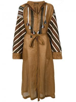 Платье с поясом и вышивкой Vita Kin. Цвет: коричневый