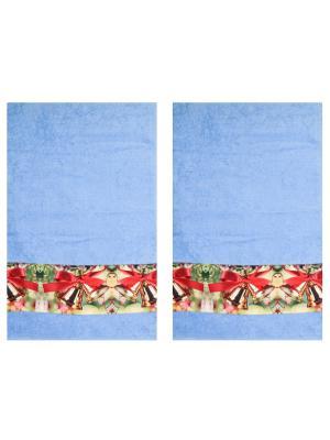 Полотенца махровые, набор 2 шт, 30х ко см, принт Колокольчики Dorothy's Нome. Цвет: морская волна