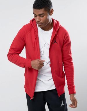 Jordan Худи красного цвета на молнии Nike Flight 822658-687. Цвет: красный