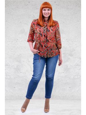 Блузка Мари-лайн. Цвет: коричневый, рыжий