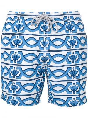 Пляжные шорты с геометрическим принтом Capricode. Цвет: белый