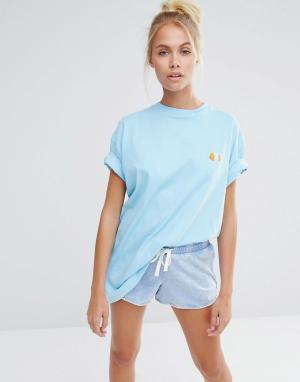 Lazy Oaf Oversize-футболка бойфренда с вышивкой морской свинки. Цвет: синий