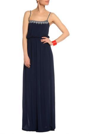 Платье в пол с поясом на резинке Mix Ray. Цвет: темно-синий