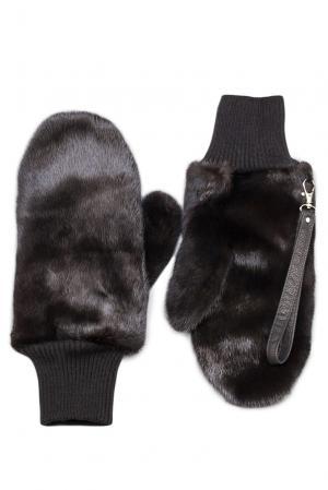 Варежки из меха норки с ремнем 120086 Mkc. Цвет: черный