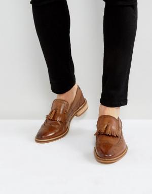 ASOS Светло-коричневые кожаные лоферы с бахромой. Цвет: рыжий
