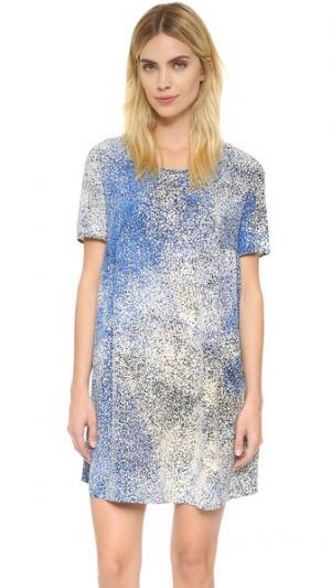 Шелковое платье Sand KENZO. Цвет: голубой