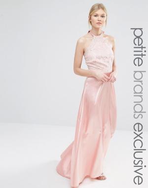 John Zack Petite Платье макси с кружевным лифом и атласной юбкой. Цвет: розовый