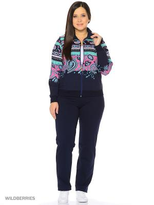 Домашний костюм Nicole collection. Цвет: синий, салатовый, розовый