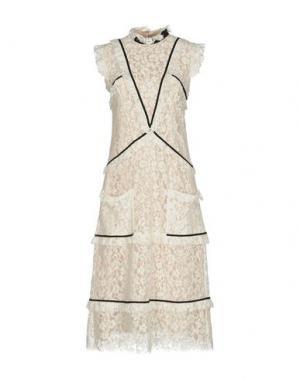Платье длиной 3/4 ERDEM. Цвет: слоновая кость